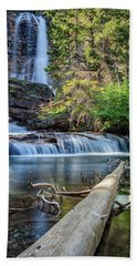 Glacier National Park Waterfall 3 Bath Towel by Andres Leon