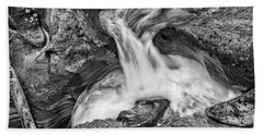 Glacier National Park's Avalanche Gorge In Black And White Bath Towel