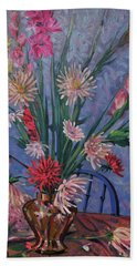 Hand Towel featuring the painting Gladiolas And Dahlias by Donald Maier