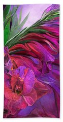 Hand Towel featuring the mixed media Gladiolus In Red by Carol Cavalaris