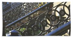Bath Towel featuring the photograph Glasgow Railings by Mary-Lee Sanders