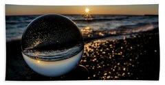 Glass Ball On The Beach At Sunrise Bath Towel