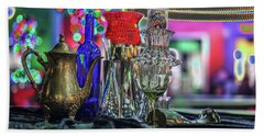 Glass In The Frame Of Colorful Hearts Hand Towel