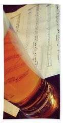 Glass Of Beer And Music Notes Hand Towel by GoodMood Art