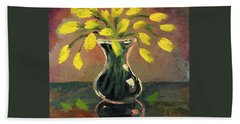 Glass Vase And Yellow Flowers Hand Towel