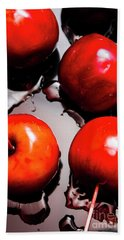 Gleaming Red Candy Apples Bath Towel