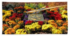 Bath Towel featuring the painting Glen Ellyn Millennium Flower Clock by Christopher Arndt