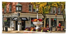 Hand Towel featuring the painting Glen Ellyn Watering Fountain by Christopher Arndt