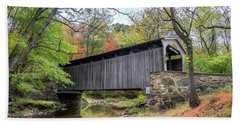 Glen Hope Covered Brige During Autumn Hand Towel