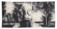 Vintage Gas Mask Terror Hand Towel