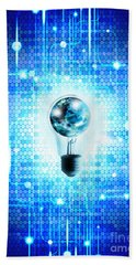 Globe And Light Bulb With Technology Background Hand Towel