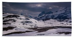Bath Towel featuring the photograph Gloomy Day On The Snow Road by Dmytro Korol