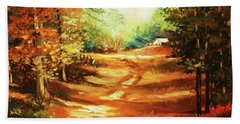 Glory Road In Autumn Bath Towel by Al Brown