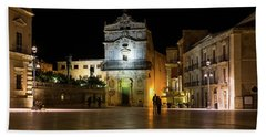 Glossy Outdoor Living Room - St Lucy Church On Piazza Del Duomo In Syracuse Sicily Bath Towel