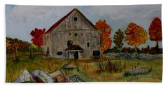 Bath Towel featuring the painting Glover Barn In Autumn by Donna Walsh