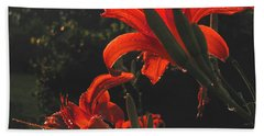 Hand Towel featuring the photograph Glowing Day Lilies by Donna Brown