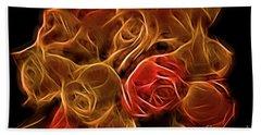 Glowing Golden Rose Bouquet Hand Towel