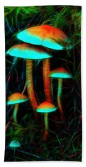 Hand Towel featuring the photograph Glowing Mushrooms by Yulia Kazansky