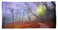Bath Towel featuring the photograph Glowing Through The Trees by Debra and Dave Vanderlaan