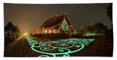 Bath Towel featuring the photograph Glowing Wat Sirintorn Wararam Temple, Ubon by Pradeep Raja Prints