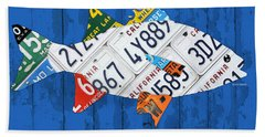 Go Fish Freshwater Bass Recycled Vintage License Plate Art Hand Towel
