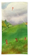 Bath Towel featuring the painting Go Fly A Kite by Denise Tomasura