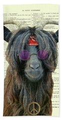 Goat In Hippie Clothes With Purple Glasses And Peace Necklace Bath Towel