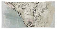 Goat Portrait-farm Animals Hand Towel