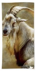 Goat Portrait Bath Towel