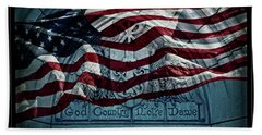 God Country Notre Dame American Flag Bath Towel by John Stephens