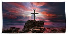 God Is My Rock Special Edition Fine Art Hand Towel by Justin Kelefas