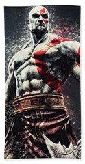 Bath Towel featuring the digital art God Of War - Kratos by Taylan Apukovska