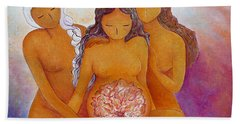 Goddesses In Birth  Hand Towel by Gioia Albano