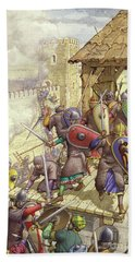 Godfrey De Bouillon's Forces Breach The Walls Of Jerusalem Hand Towel
