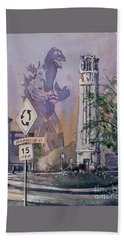 Bath Towel featuring the painting Godzilla Smash Ncsu- Raleigh by Ryan Fox