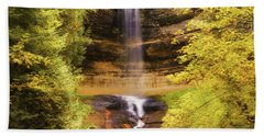 Gold At Munising Falls Bath Towel