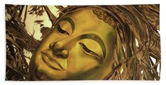 Hand Towel featuring the painting Gold Buddha Head by Chonkhet Phanwichien