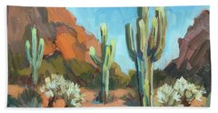Hand Towel featuring the painting Gold Canyon by Diane McClary