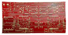 Gold Circuitry On Red Bath Towel by Serge Averbukh