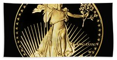 Gold Coin Front Hand Towel by Phyllis Denton