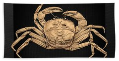 Hand Towel featuring the digital art Gold Crab On Black Canvas by Serge Averbukh