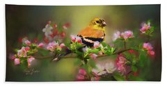 Gold Finch And Blossoms Bath Towel