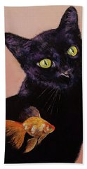 Gold Fish Hand Towel by Michael Creese