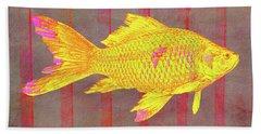 Gold Fish On Striped Background Bath Towel