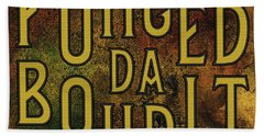 Hand Towel featuring the digital art Gold Fuhgeddaboudit by Megan Dirsa-DuBois