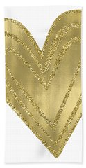 Gold Glam Heart Bath Towel