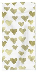 Gold Hearts Hand Towel