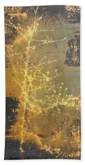 Gold Industrial Abstract Christmas Tree Bath Towel by Suzanne Powers