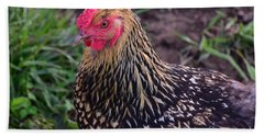 Bath Towel featuring the photograph Gold Laced Wyandotte by Mark McReynolds