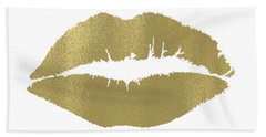 Gold Lips Kiss Bath Towel
